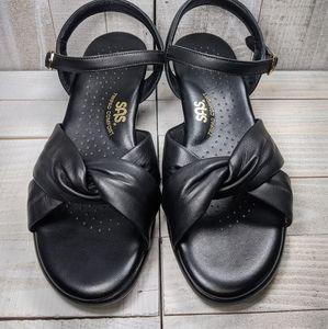 SAS Tripad Comfort Black Leather Sandals Heels